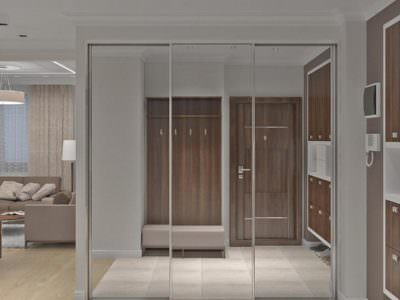 Шкаф-Купе в Прихожую Зеркальные двери до потолка