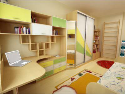 Шкаф-Купе в Детскую+Полки для Книг