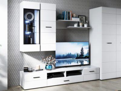 Стенка под ТВ со шкафом и подсветкой