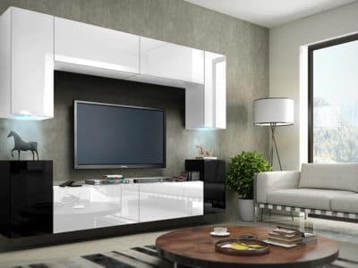 Стенка под ТВ Белый+Черный Глянец